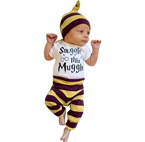Malloom® Baby Boys Girls Snuggle This Muggle Bodysuit and Striped Pants Outfit with Hat