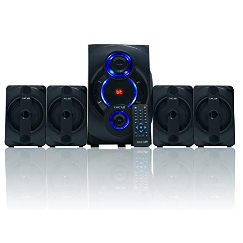 "OSCAR 4152BT 4.1 Multimedia Speaker System,5.25"" SW, DigitalFM, Bluetooth Home Theater, Compatible with PC, TV, Card Reader (Black)"