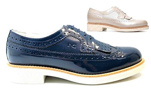 Nero Giardini P717072D Savana e Blu Stringate Scarpe Donna Stile Inglese Blu