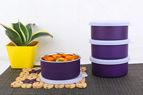 Homeish Microwave Safe Stainless Steel Lunch Containers for Office/Home - Set of 4 (Purple, 4x200ml Approx.)