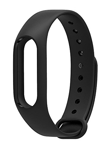 Rewy Premium Quality Replacement Strap Accessories Bands Wrist Strap for Xiaomi MI Band with Adjustable Buckle {Black}