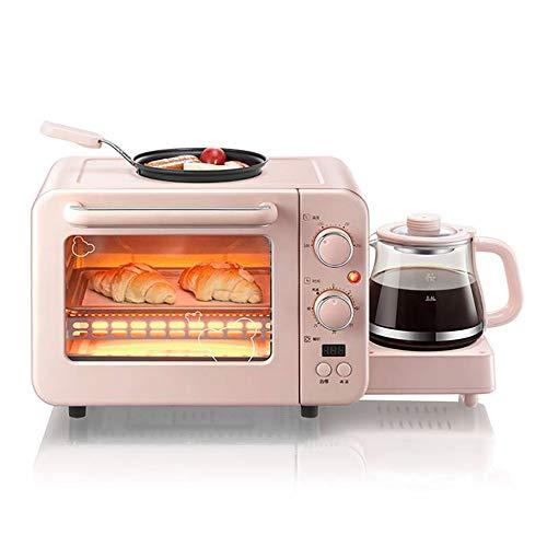 Mini-Backofen,Umluft Ofen Mini,Backofen Mini Mit Mikrowelle,miniofen mit umluft,3-in-1-multifunktionsfrühstücksmaschine, Elektrischer 8-l-miniofen Mit Eierbratpfanne Für Die Kaffeemaschine,Pink