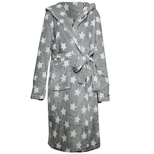 Bademantel Mircrofaser von JEMIDI mit Sternen Morgenmantel Sauna Mantel Reisebademantel Damen Mädchen Sterne oder Herzen - (S, Sterne Weiss)