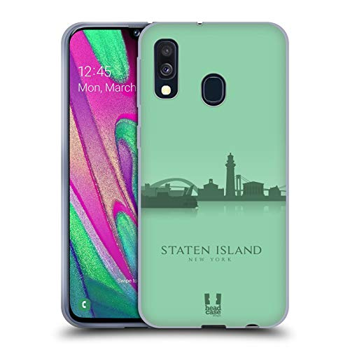 Head Case Designs Staten Island Landmarken Silhouettes 2 - Us Soft Gel Huelle kompatibel mit Samsung Galaxy A40 (2019)
