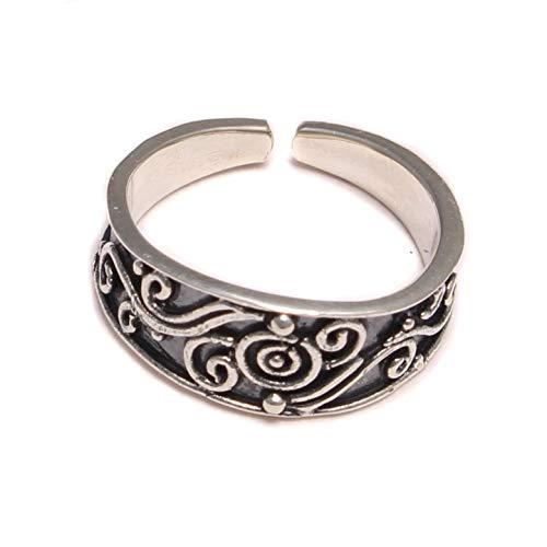 rund verzierter Zehenring 925 Sterling Silber, Zehen Ring Fußschmuck, Fuß Schmuck offen anpassbar, Hippie boho Fuß Ring
