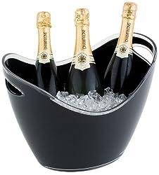 APS Wein und Sekt Flaschenkühler 6 Liter in schwarz, 35 x 27cm, Höhe 25,5 cm, mit 2 seitlichen Eingriffen