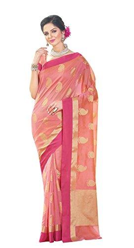 La\'ethnic Pink Super Net Saree