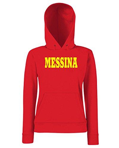 T-Shirtshock - Sweats a capuche Femme WC0933 MESSINA SICILIA ITALIA CITTA STEMMA LOGO Rouge