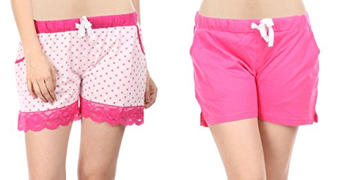 Combo of 2 Women Cotton Night Shorts in Pink & White Color...