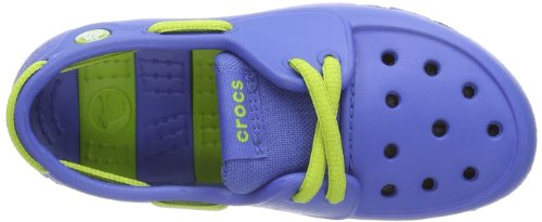crocs Beach Line C 15915 Unisex-Kinder Schnürhalbschuhe Blau (Sea Blue/Volt Green)