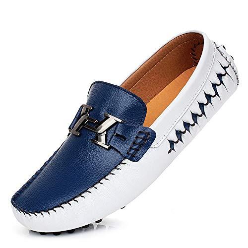 Zzyff Trend 2019 Driving Loafer Für Männer Set Fuß Atmungsaktiv Rutschfeste Weiche Unterseite Flache Faule Einzigen Lederschuhe Wilde Bootsschuhe Täglich (Color : Blue, Size : 44 EU)