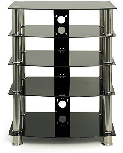 Centurion Suppports GTS6 5 Ablageböden Hochglanz Schwarz mit Silber Beine flach-Fernseher/Hi-Fi/AV Gestell Glas-Stand