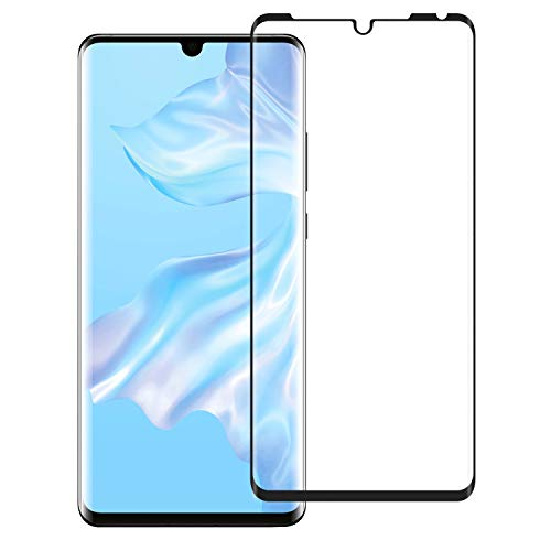 TiMOVO Screen Protector Compatible with Huawei P30 Pro, 3D Curved Full Coverage Anti-Scratch No-Bubble Case Friendly 9H Hardness Tempered Glass Screen Protector Film For Huawei P30 Pro - Black