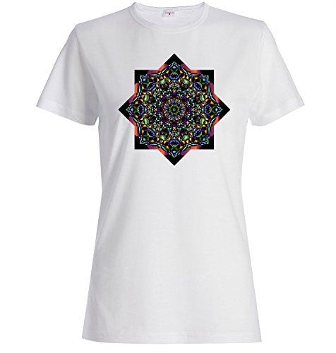 Beautiful dark digital mandala art logo Dammen baumwolle t-shirt Weiß