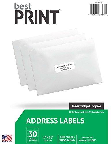 30 Up Adress-Etiketten, 2,5 x 6,4 cm, 3.000 Etiketten