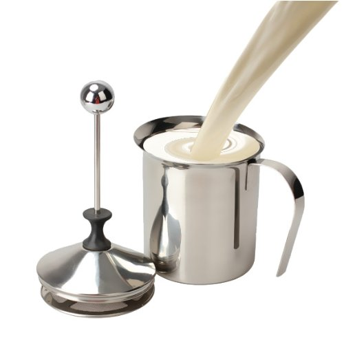 41O%2Bx4slSUL. SS500  - 800mL Stainless Steel Handheld Milk Frother Jug with Double Mesh Use To Make Perfect Cappuccinos Lattes and Milkshakes