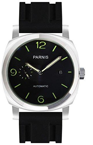 PARNIS 9068 klassische Edelstahl-Automatik-Uhr 5BAR Wasserdicht 44mm Mineralglas Herren-Uhr Kautschuk-Armband Seagull Markenuhrwerk Kaliber ST25