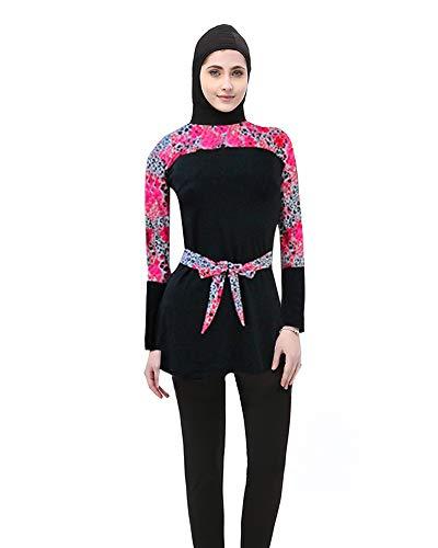 BOZEVON Costume da Bagno Musulmano Donne - Completo da Donna Completo Modesto Islamico Set 2 Pezzi con Cappuccio Hijab Burkini Top + Pantaloni Protezione Solare da Spiaggia