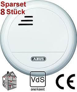 8er sparset abus optischer rauchmelder rm 10 vds incl batterie k che haushalt. Black Bedroom Furniture Sets. Home Design Ideas