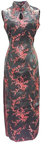 7Fairy Damen Schwarz & Rot Chinesisch Kleid Cheongsam Blumen Lang Schlüsselloch Größe De 48 (Kleid Chinesische Cheongsam Satin)