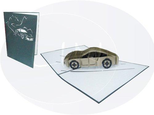 LIN POP UP 3D Grußkarte Glückwunsch zum 18. Geburtstag oder Führerschein - Auto Gutschein Sportwagen (Große Karte 15 x 20 cm, Graphit glanz)(#145)