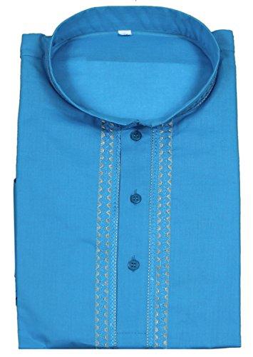 Kurta-robe-chemise-en-coton--manches-longues-mens-button-up-polo