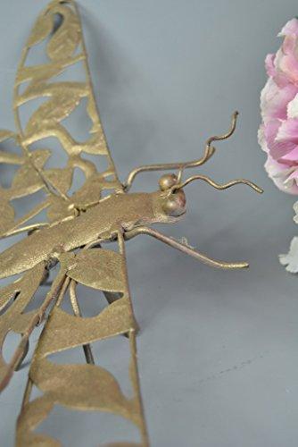 Garden-Outdoor-Indoor-Ground-Spike-Decorative-Gold-Bronze-Dragonfly-On-Tall-Metal-Stick-Holder-Dragonflies