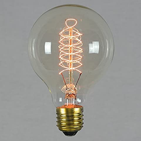 Vintage Edison Light Bulb 60w - Spiral Globe 80mm E27