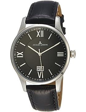 Jacques Lemans Herren-Armbanduhr London Analog Quarz Leder 1-1845A