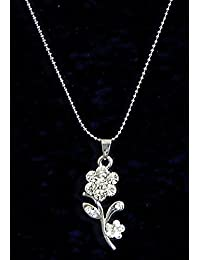 DollsofIndia White Stone Studded Flower Pendant - Metal (DY59-mod) - Silver Color, White