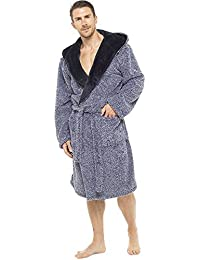 46c413c1e88 Mens Luxury Super Soft Fleece Dressing Gown Bath Robe Hooded Thick Warm  Snuggle
