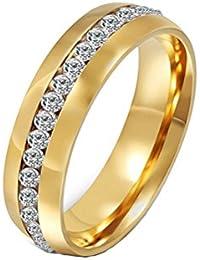 HIJONES Bijoux Femmes acier inoxydable Seule ligne rangée diamant bague (disponible dans les Taille 50 - 70)