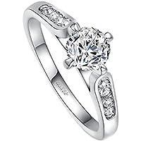Yoursfs placcato in oro bianco 18 k con diamante 1 CT anelli di fidanzamento