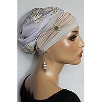 Beanie Mütze Ballonmütze Spitze Nieten mit Band little things in life Chemo Cap Hat Chemomütze Mütze bei Krebs Kopfbedeckung Turban