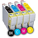 4 x Cartuchos de Tinta ( Negro / Cyan / Magenta / Amarillo ) Compatible EPSON T1291 / T1292 / T1293 / T1294 para Impresoras : Epson WorkForce WF3010 DW Epson WorkForce WF3500 Series Epson WorkForce WF3520 DWF Epson WorkForce WF3530 DTWF Epson WorkForce WF3540 DTWF .