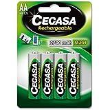 CEGASA Rechargeable - Pack 4 Pilas HR6 2700 mAh, Color Verde