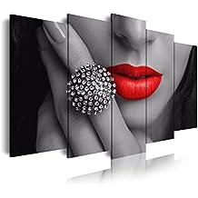 DekoArte 31 - Cuadro moderno en lienzo 5 piezas chica con labios rojos, 150x3x80cm