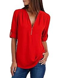 Damen Chiffon Blusen Elegante Reißverschluss Langarmshirts Bluse Tunika Oberteile T-Shirt V-Ausschnitt Tops