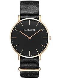Alienwork Quarz Armbanduhr elegant Quarzuhr Uhr modisch Zeitloses Design klassisch Nylon rose gold schwarz U04828L-02