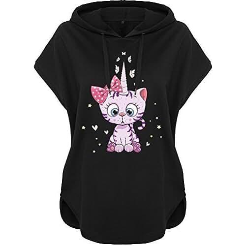 ropa primavera kawaii Kawaii Sudadera con capucha sudadera con capucha Mujeres Mujer Camisa con capucha Caticorn Kittykat Gatito Cat Gato (Motivo 54)