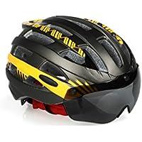 XDXDWEWERT Bicicleta Casco Ciclismo Bike con Gafas Desmontables Casco Bike Casco Adulto Ajustable de una Pieza (Naranja Titanio)