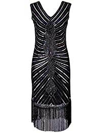 1dfb4756152e KT Mall Anni 1920 Vintage Paillettes Gatsby Flapper Abito V-Collo Cristallo  Perline Paillettes Impreziosito Vestito…