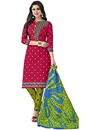 HRINKAR Women's Cotton Salwar Suit Dupatta Dress Material (HRKT1626_Yellow And Pink_Free Size)