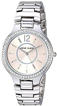 Anne Klein Womens Quartz Watch, Analog Display and Stainless Steel Strap AK/1855LPSV