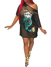 73506513b HongHu Malla de Manga Corta de Las Mujeres Ver a través de Lentejuelas Sirena  Vestido de
