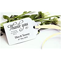 "10 Personalised""Thank you"" Favours Wedding Gift Tags With Ribbon."