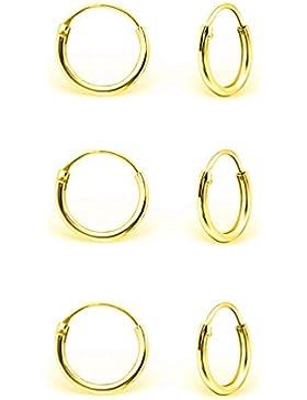 DTPsilver - Damen - Klein Creolen - Ohrringe 925 Sterling Silber und Gelb Vergoldet Set Paare 3 - Dicke 1.2 mm...