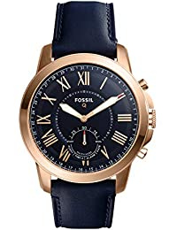 Fossil Q Men's Grant Stainless Steel and Leather Hybrid Smartwatch, Color: Rose Gold-Tone, Blue Model: FTW1155