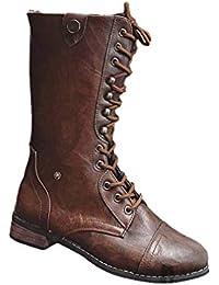 Botines Planos de Mujer de Estilo Vintage Zapatos Botas Medianas Cremallera Trasera Botas de Martin Zapatos