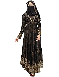 Justkartit Women's Georgette Abaya Burkha With Hijab Scarf & Waist Belt (Black_Chest Size : 40 Inch, Length : 58 Inch)